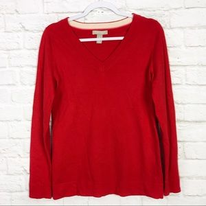 Banana Republic Fine Merino Wool Red VNeck Sweater
